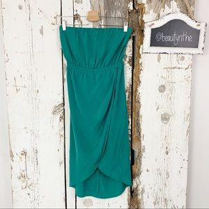 Potter's pot green tulip hem strapless dress